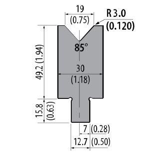 ASD-85-750 American Style 85 Degree Press Brake Die