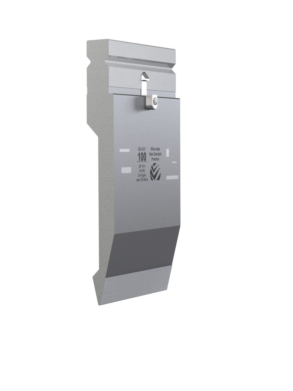 WILA BIU-021/2 New Standard Premium Top Tool H=163mm, a=28°, R=1mm, max.load: 70ton/m 550mm (SEGMENTED) OPEN BOX, NEW