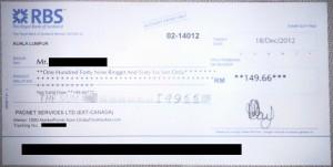 Global Test Market Cheque