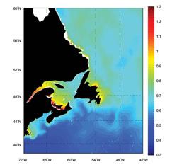 FIGURE 6 : Variabilité spatiale d'une onde de tempête à période de récurrence de 40 ans touchant la côte atlantique du Canada, basée sur une rétrospective des derniers 40 ans (Bernier et al., 2006)