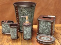 Rustic tooled leather bathroom accessories