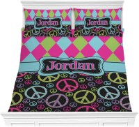 Harlequin & Peace Signs Comforter Set