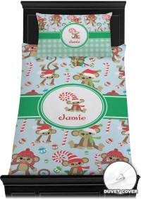 Christmas Monkeys Duvet Cover Set - Twin (Personalized ...