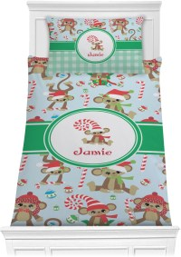 Christmas Monkeys Comforter Set - Twin (Personalized ...