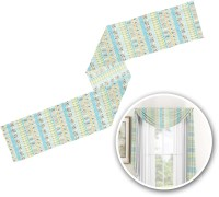 Abstract Teal Stripes Window Sheer Scarf Valance ...