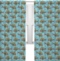 "Mosaic Fish Curtains - 56""x80"" Panels - Unlined (2 Panels ..."