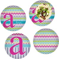 Colorful Chevron Set of 4 Lunch / Dinner Plates (Glass ...