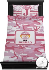 Pink Camo Duvet Cover Set - Twin (Personalized ...