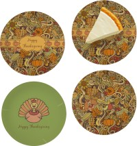 Thanksgiving Set of 4 Glass Appetizer / Dessert Plate 8 ...