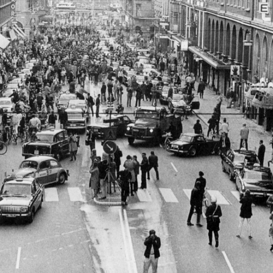 5:00 P.M., September 3rd, 1967 Sweden changed from driving on the left side to driving  on the right - this was the result
