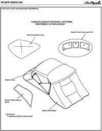 Bimini Visor (Factory OEM) for Sea Ray® 290 Bowrider No