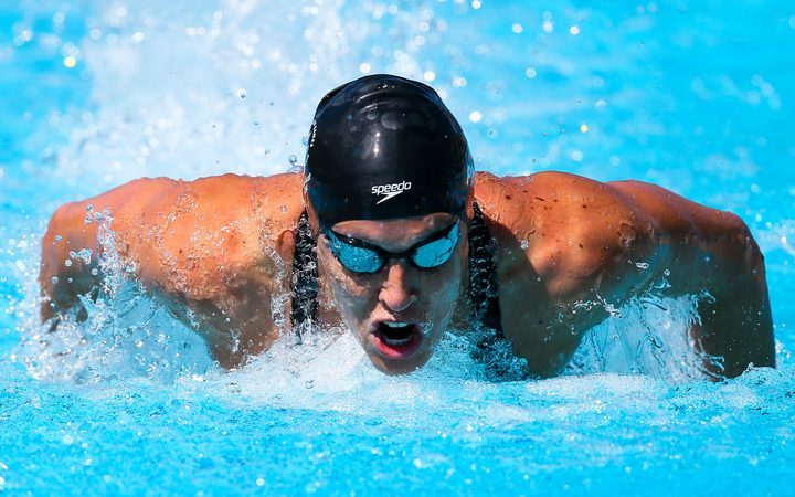 New Zealand para-swimmer Sophie Pascoe competing at the 2018 Commonwealth Games