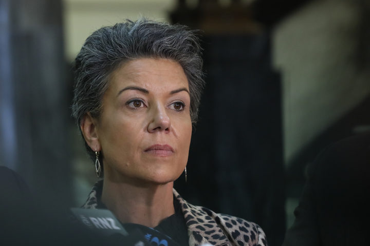Paula Bennett listens to media questions during a press conference with Simon Bridges