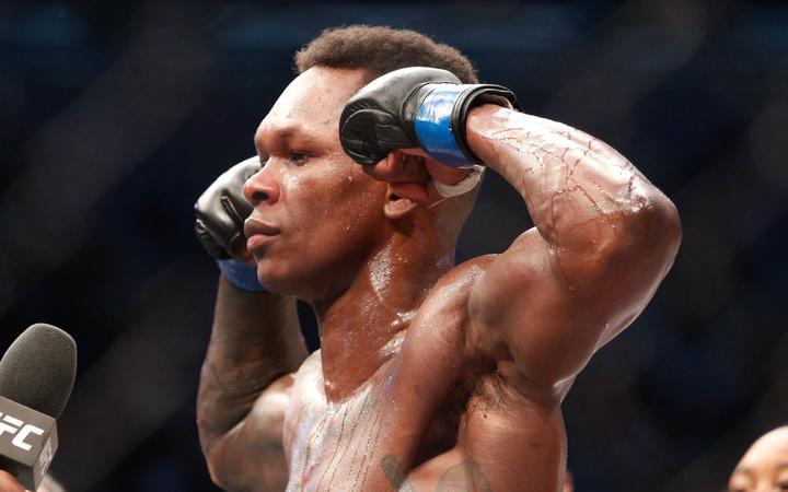 Israel Adesanya of New Zealand during UFC 243