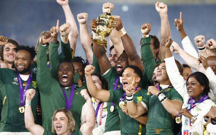 South Africa celebrates with the trophy after winning the World Cup Japan 2019, Final rugby union match between England and South Africa on November 2, 2019 at International Stadium Yokohama in Yokohama, Japan