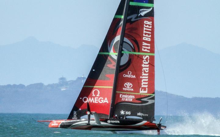 Team New Zealand AC75 Te Aihe sailing off Auckland.