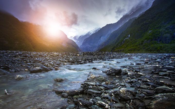 creek of franz josef glacier most popular traveling destination in west coast southland new zealand