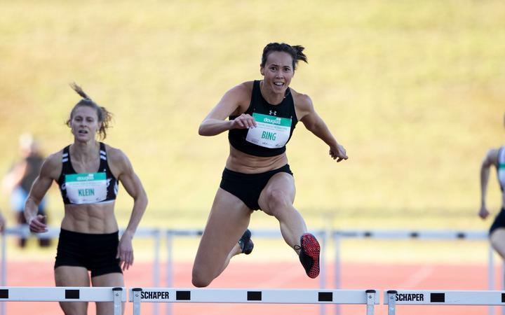 Portia Bing wining the Women's 400m Hurdles, during the Sir Graeme Douglas International, Auckland 2020.