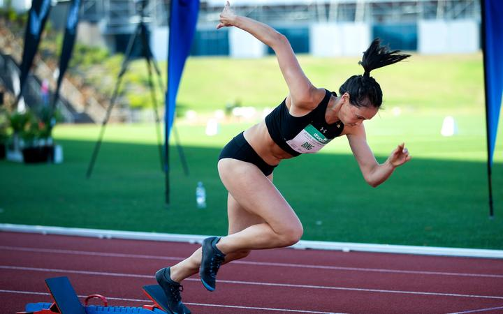 Portia Bing, in the Women's 400m Hurdles, during the Sir Graeme Douglas International, Auckland 2020.