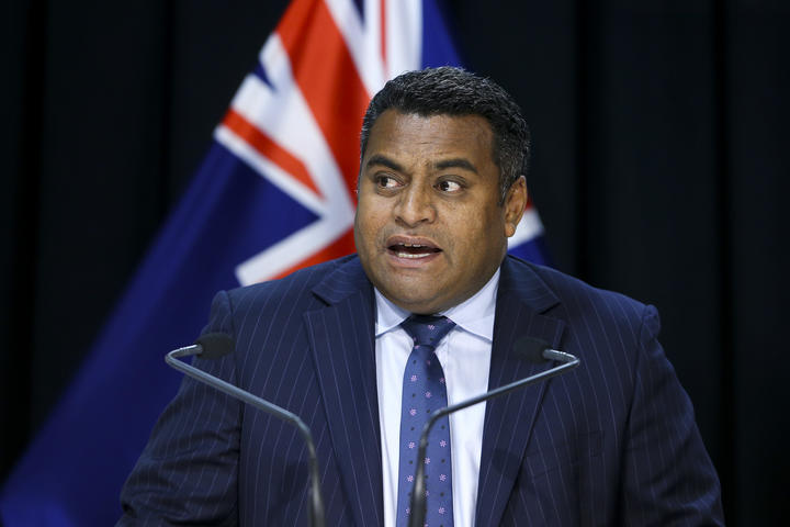 Minister for Broadcasting, Communications and Digital Media Kris Faafoi speaks during a media conference at Parliament on 23 April 2020 in Wellington.