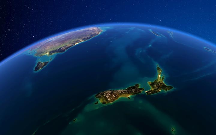 Planet Earth with detailed exaggerated relief at night lit by the lights of cities. New Zealand. 3D rendering. Elements of this image furnished by NASA