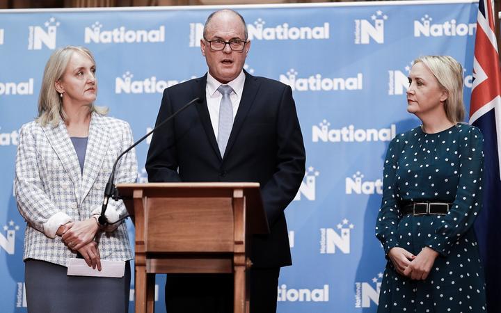 Amy Adams, Todd Muller and Nikki Kaye at National's minister portfolio reshuffle on 25 May 2020.