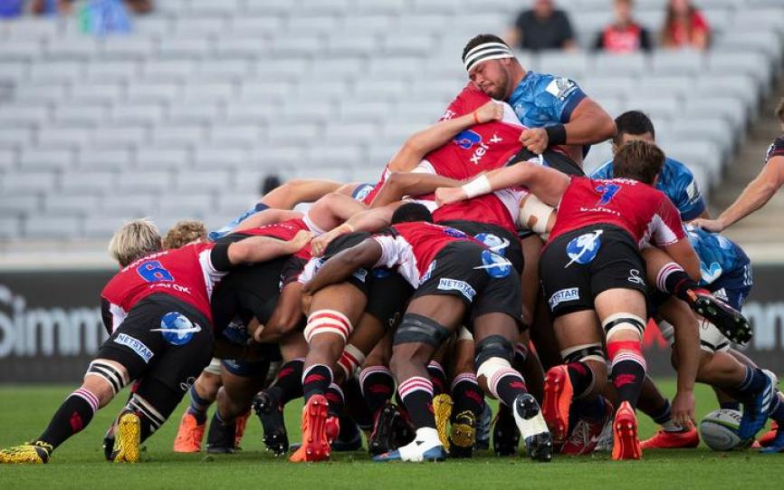 Blues scrum in action against the Lions during the Super Rugby match 2020.