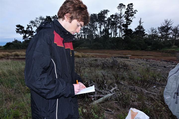 Finn Fidler recording details of trapping on Haulashore for the national database.
