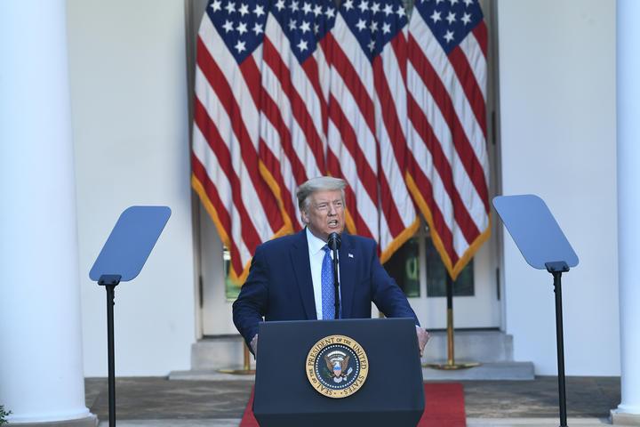 US President Donald Trump addressing media in the White House Rose Garden today.