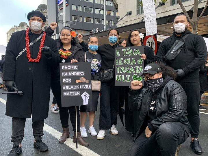 Pacific Climate Warriors at #BLM Auckland protest, Christopher Tenisio (L).