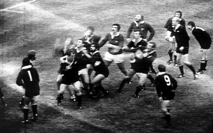 Andy Haden jumps for a lineout ball during the rugby union match between the All Blacks and Wales, 11 November, 1978, in Cardiff.