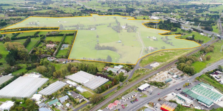 The land in East Drury that Kiwi Property is planning to develop with a new town centre and residential development.