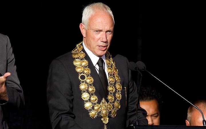 Sir Bob Parker speaking, as mayor, during a remembrance service in Latimer Square in Christchurch on 22 February 2012, one year after the 6.3 quake hit the city killing 185 people and causing tremendous damage.