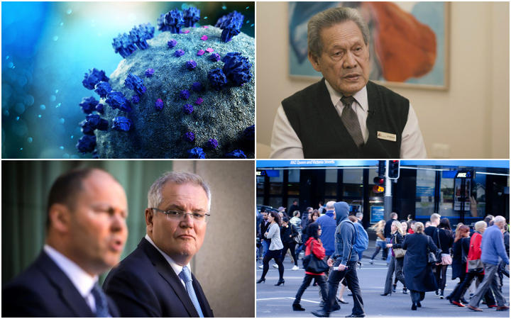 Top left to bottom right: Covid-19, Dr Joe Williams, Australian Prime Minister Scott Morrison and the Auckland public on Queen St.