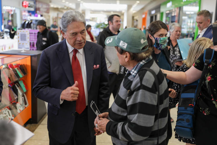New Zealand First leader Winston Peters on the campaign trail in Rotorua.