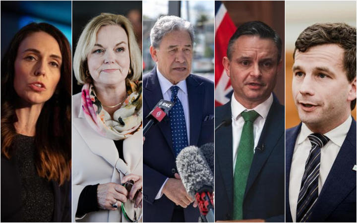 Labour leader Jacinda Ardern, National leader Judith Collins, NZ First leader Winston Peters, Green Party co-leader James Shaw and ACT leader David Seymour.