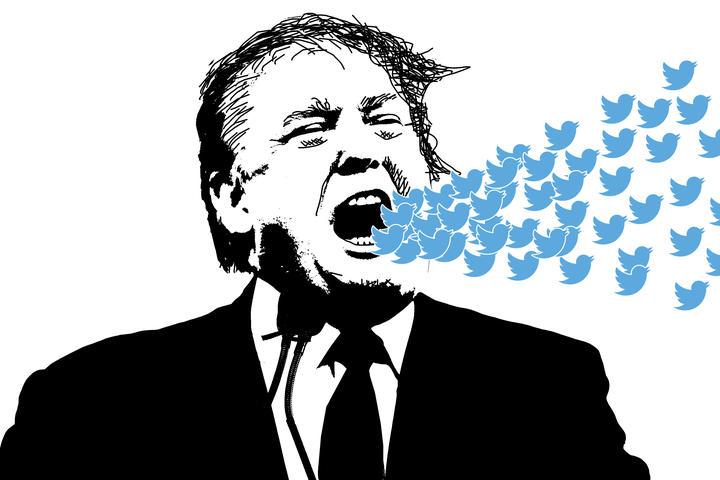 108924142 - editorial illustration of donald trump yelling at social media twitter
