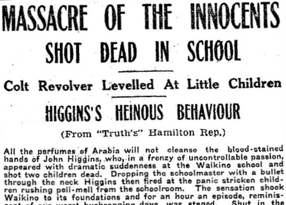 Truth newspaper reporting the shooting tragedy at Waikino school in 1923.