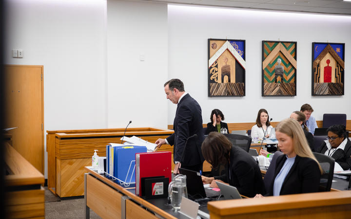 Barrister Todd Simmonds at the Auckland District Court during Gary Loye's evidence to the court.