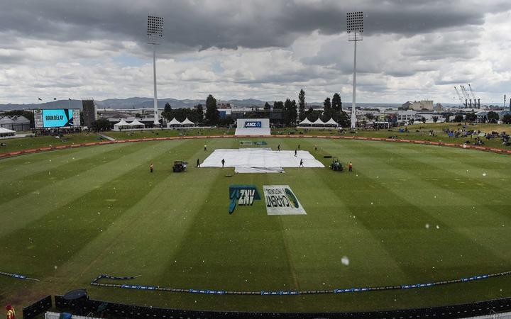 Rain and hail stops play on Day 3. New Zealand Black Caps v Pakistan. International Test match cricket. Bay Oval, Tauranga,