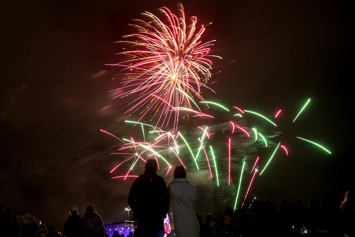 People watch fireworks during New Year's Eve celebrations in Christchurch on 1January 2021.