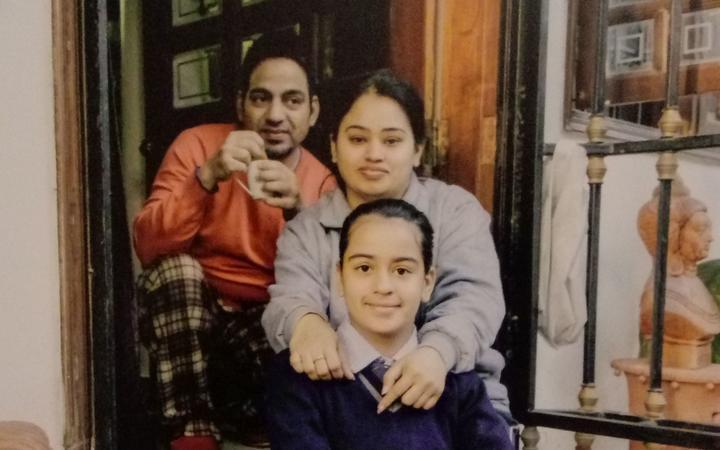 Vanita Sehgal (centre), her husband Rajeev Seghal and their daughter Mehak.