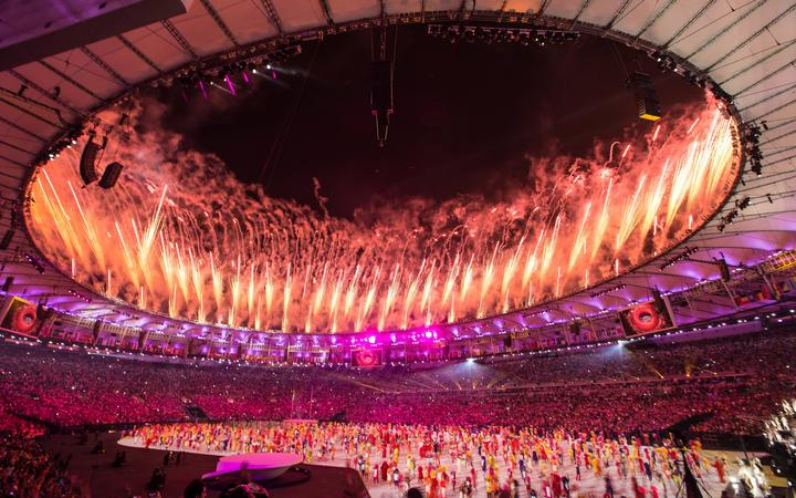 Opening of the Rio 2016 Olympics. Fireworks during the opening of the Rio 2016 Olympics held in the Maracana Stadium.