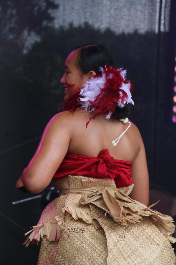 A performer with Tautua Dance at the Wellington Pasifika Festival. 23 January 2021