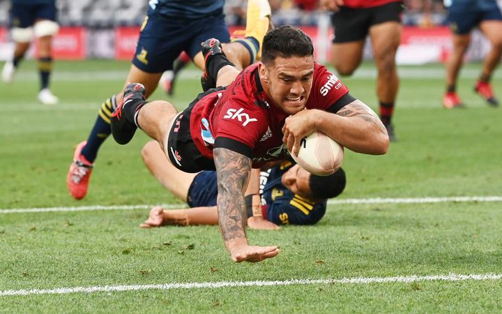 Codie Taylor scores a try,  Highanders v Crusaders, Super Rugby Aotearoa. Forsyth Barr Stadium, Dunedin. New Zealand. Friday 26 February 2021. © Copyright Photo: Andrew Cornaga / www.photosport.nz