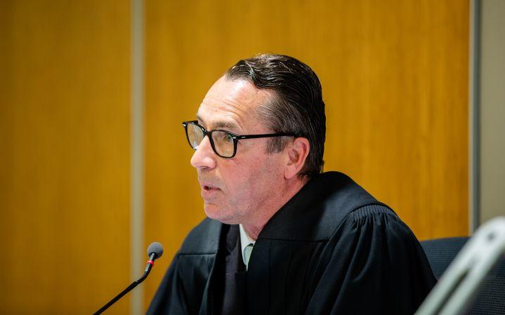 Judge Evangelos Thomas during the first court appearance of the 13 parties charged in relation to the Whakaari eruption disaster.