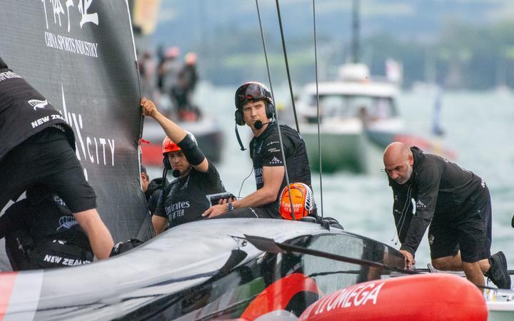 Team New Zealand helmsman Peter Burling