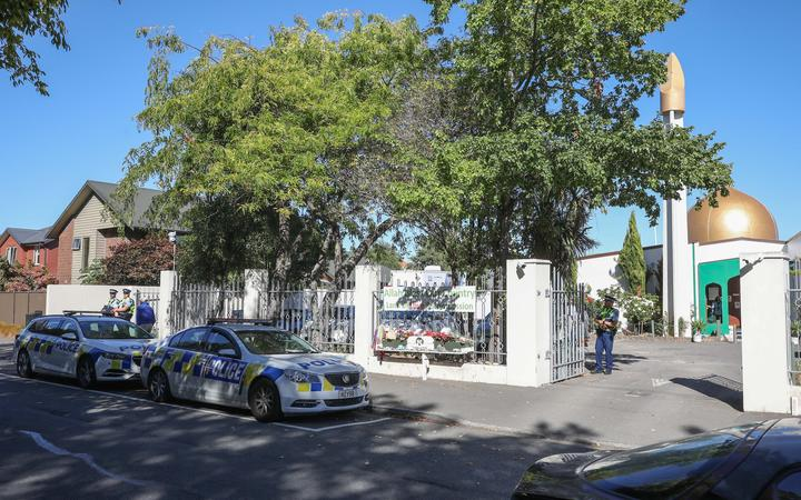 Police vehicles parked outside Al Noor Mosque in Christchurch on the second anniversary of the terror attacks.