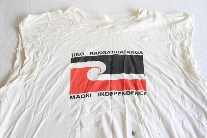 The t-shirt worn by Benjamin Nathan - now Moemoea Mohoawhenua - during the attack on the America's Cup in 1996.