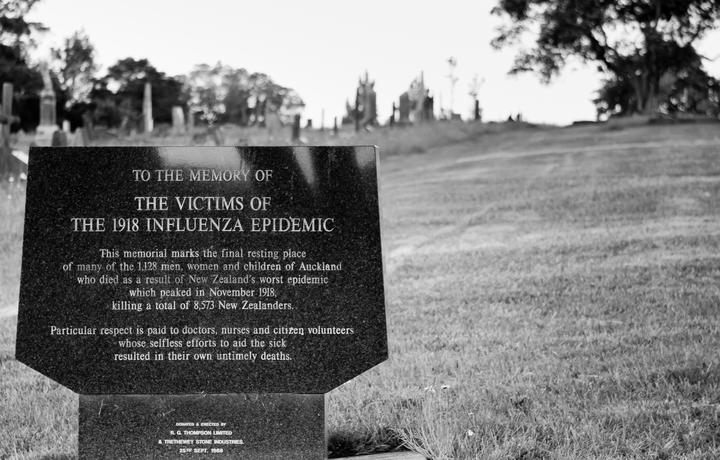 Plaque reads: This memorial marks the final resting place of many of the 1,128 men, women and children of Auckland who died as a result of New Zealand's worst epidemic which peaked in November 1918, killing a total of 8,573 New Zealanders.